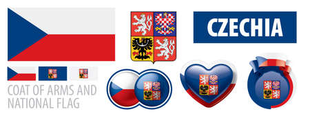 Vector set of the coat of arms and national flag of Czechia