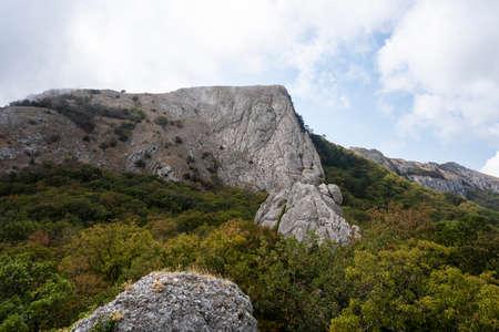 Mount Ilyas Kaya, near the village of Laspi, Republic of Crimea, Russia. Cloudy day September 25, 2020 Foto de archivo