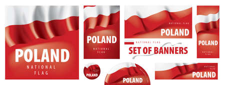 Vector set of banners with the national flag of the Poland Çizim