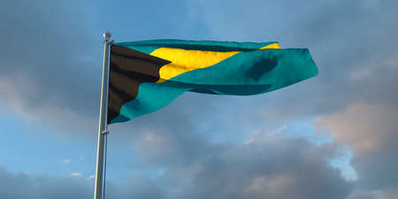 3d rendering of the national flag of the Bahama