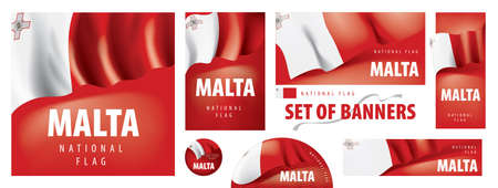 Vector set of banners with the national flag of the Malta
