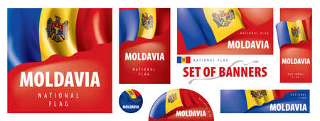 Vector set of banners with the national flag of the Moldavia