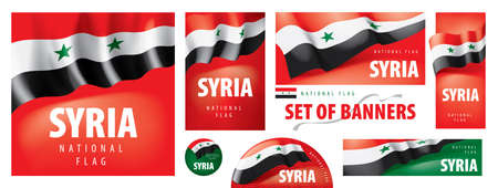 Vector set of banners with the national flag of the Syria