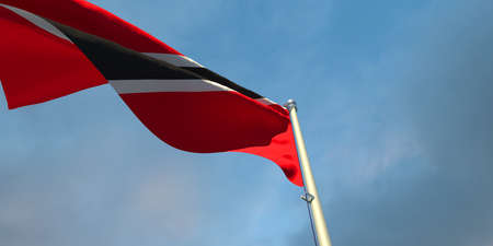 3d rendering of the national flag of the Trinidad and Tobago in the evening at sunset against a background of beautiful clouds
