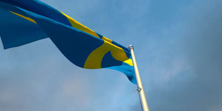 3d rendering of the national flag of the Sweden in the evening at sunset against a background of beautiful clouds