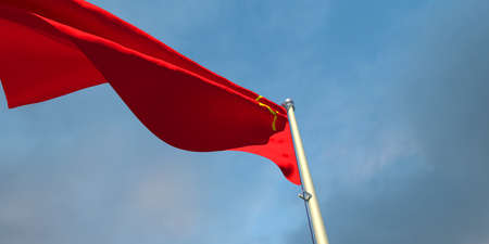 3d rendering of the national flag of the USSR in the evening at sunset against a background of beautiful clouds