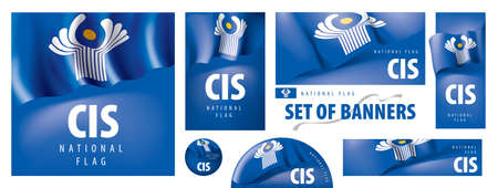 Vector set of banners with the national flag of the CIS Vetores