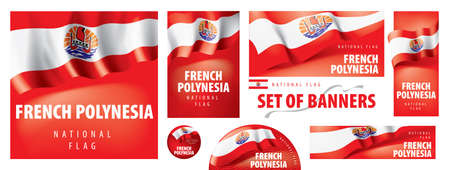 Vector set of banners with the national flag of the French Polynesia