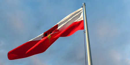 3d rendering of the national flag of the Gibraltar