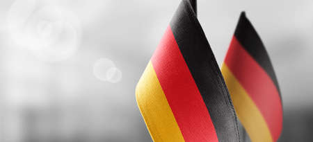 Small national flags of the Germany on a light blurry background