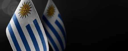 Small national flags of the Uruguay on a dark background
