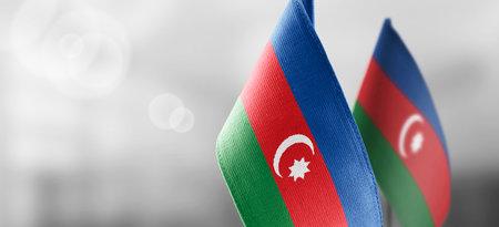 National flag of the Azerbaijan on dark fabric