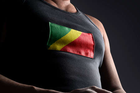 The national flag of Congo on the athletes chest