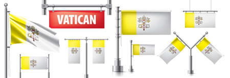 Vector set of banners with the national flag of the Vatican