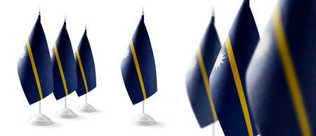 Set of Nauru national flags on a white background