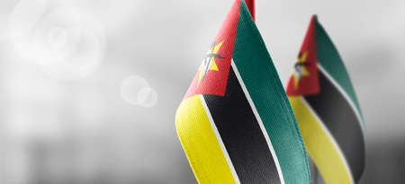 Small national flags of the Mozambique on a light blurry background