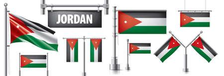 Vector set of the national flag of Jordan in various creative designs