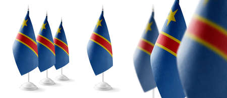 Set of Democratic Republic of the Congo national flags on a white background