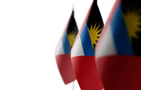 Small national flags of the Antigua and Barbuda on a white background Stock Photo