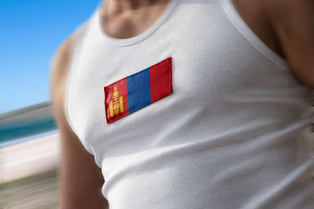 The national flag of Mongolia on the athletes chest