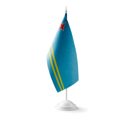 Small national flag of the Aruba on a white background