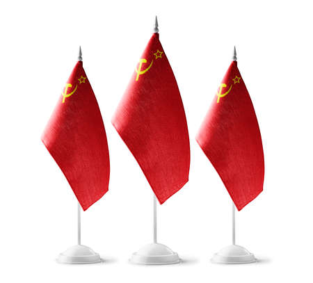 Set of USSR national flags on a white background
