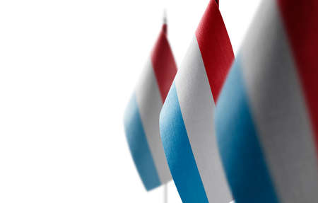 Small national flags of the Luxembourg on a white background