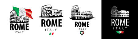 Set of vector drawings of the Colosseum in Rome Italy