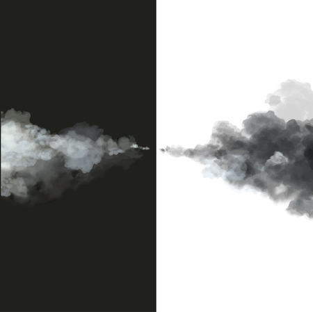 toxic cloud: Black and white smoke.