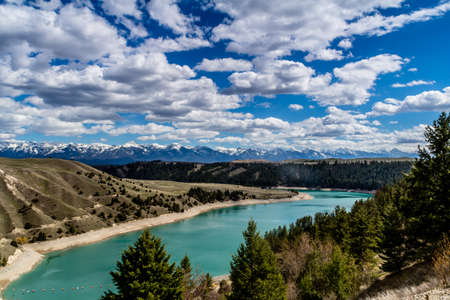 Kerr Dam, and the flathead river as seen while overlooking the dam,