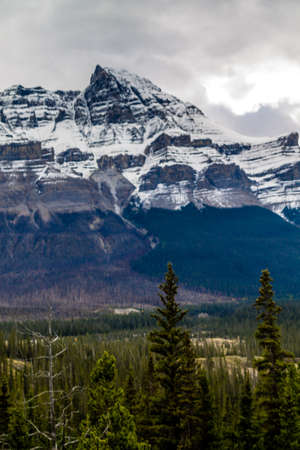 The scenic drive on the Icefield Parkway between Banff and Jasper National Park, is a marvel just out side your car window Stock Photo