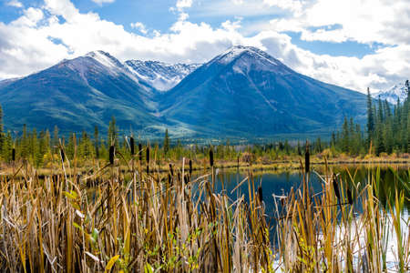 Sunrises, clear lakes, mountains, ducks and birds are always on the menu at Vermillion Lakes in banff Stock Photo - 107293165