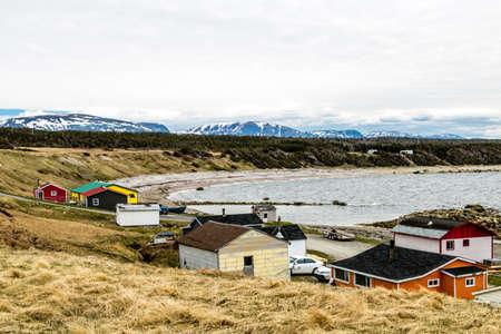 Summer fishing village on Green Point, Grose Morne National Park, Newfoundland, Canada Stock Photo