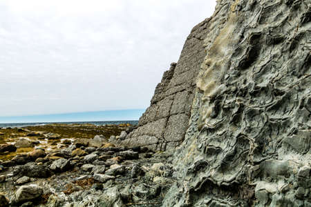 Sandstone cliffs of Green Point, Grose Morne National Park, Newfoundland, Canada Stock Photo
