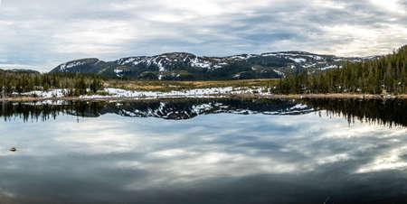 Roadside pond and mountain refelction, Gros Morne National Park, Newfoundland, Canada