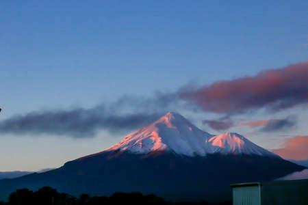 Snow covered Mount Taranaki, Taranaki, New Zealand