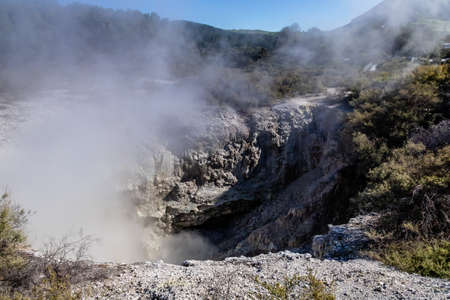 Geo thermal steam can be seen rising through out the park, Wai-O-Tapu, Rotorua, New Zealand