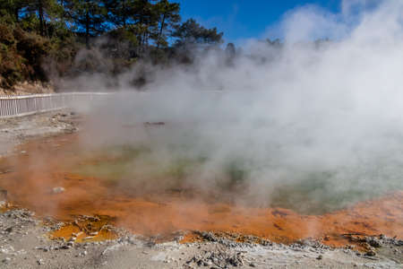 Orange coloured water from Antimony in the park, Wai-O-Tapu, Rotorua, New Zealand