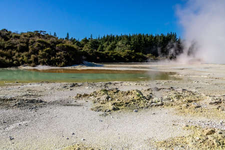 Antimony and sulphur ferrous silts colour these ponds, Wai-O-Tapu, Rotorua, New Zealand