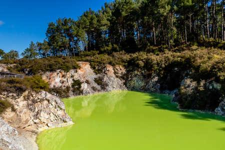 The green colour comes from colloidal sulphur and ferous silts, Wai-O-Tapu, Rotorua, New Zealand