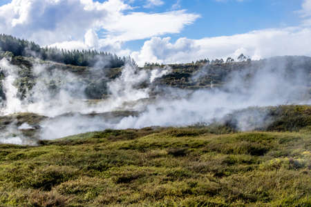 Geo thermal vents and pools dot the landscape at Craters of the Moon, Taupo, New Zealand