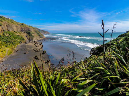Sand, beach, cliffs, rolling ocean, gannet colonies, blue oceans and crashing waves await the visitors to muriwai