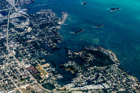 Tampa from the air while landing, Tampa, Florida, United States Stock Photo