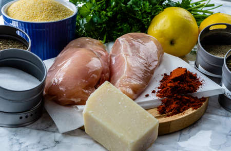 Ingredients for an italian breaded chicken with fresh lemon. Calgary, alberta, Canada