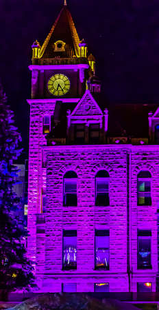 Historic City Hall bathed in the purple glow of the christmas lights. Calgary, Alberta, Canada