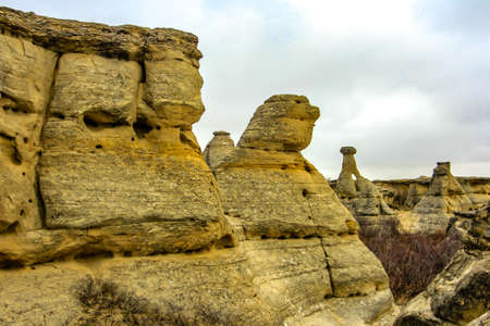 Fall season in the southern badlands. Writing on Stone Provincial Park. Alberta, Canada