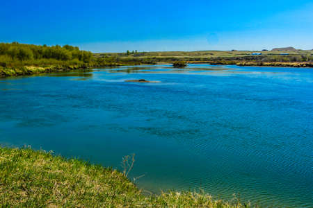 The Bow River at the height of summer. Wyndham and Carsland Provincial Park. Alberta, Canada Stock Photo