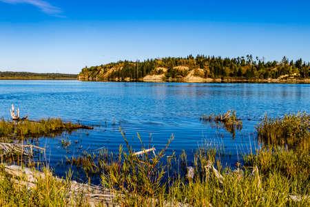 Along the shore line of the lake. Gleniffer Lake Provincial Recreation Area, Alberta, Canada Stock Photo