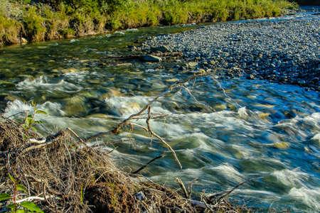 Waiprous Creek wanders through the park. North Ghost Provincial Recreation Area, Alberta, Canada Stock Photo