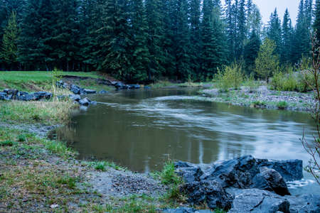 Early morning river run begining of spring. Tay River Provincial Recreation Area, Alberta, Canada